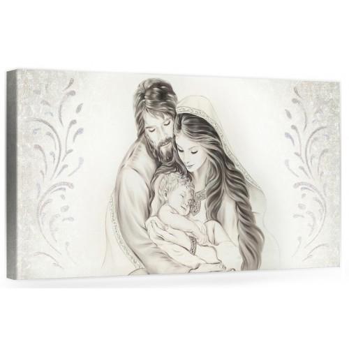 """A009 Quadro capezzale moderno su tela per la camera da letto con decorazioni 3D - Sacro """"Sacra Famiglia"""""""