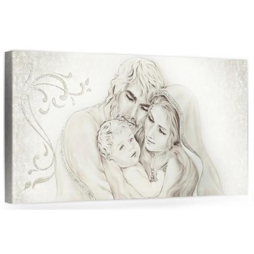 """A010 Quadro capezzale moderno su tela per la camera da letto con decorazioni 3D - Sacro """"Sacra Famiglia"""""""