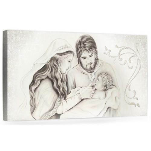 """A011 Quadro capezzale moderno su tela per la camera da letto con decorazioni 3D - Sacro """"Sacra Famiglia"""""""
