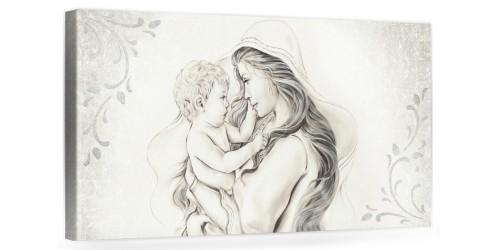 """A012 Quadro capezzale moderno su tela per la camera da letto con decorazioni 3D - Sacro """"Madonna con bambino"""""""