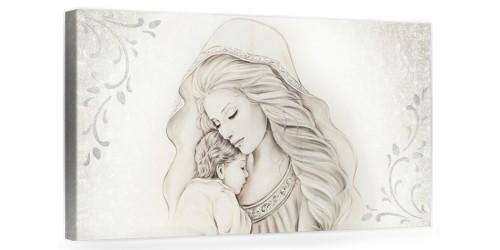 """A013 Quadro capezzale moderno su tela per la camera da letto con decorazioni 3D - Sacro """"Madonna con bambino"""""""