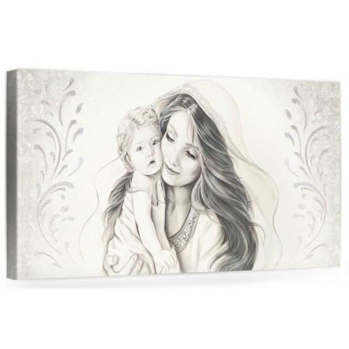 """A014 Quadro capezzale moderno su tela per la camera da letto con decorazioni 3D - Sacro """"Madonna con bambino"""""""