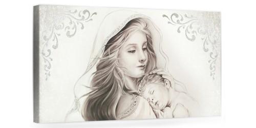 """A015 Quadro capezzale moderno su tela per la camera da letto con decorazioni 3D - Sacro """"Madonna con bambino"""""""