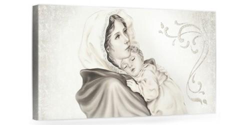 """A016 Quadro capezzale moderno su tela per la camera da letto con decorazioni 3D - Sacro """"Madonna con bambino"""""""