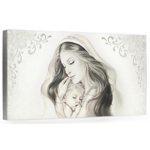 """A017 Quadro capezzale moderno su tela per la camera da letto con decorazioni 3D - Sacro """"Madonna con bambino"""""""