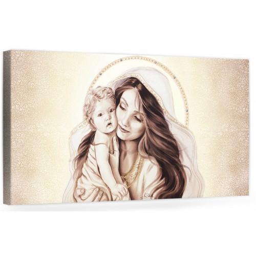 """A017-2 Quadro capezzale moderno su tela per la camera da letto con decorazioni - Sacro """"Madonna con bambino"""""""