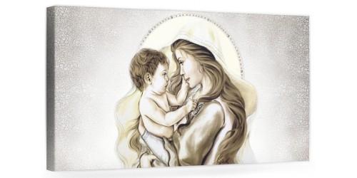 """A018 Quadro capezzale moderno su tela per la camera da letto con decorazioni - Sacro """"Madonna con bambino"""""""