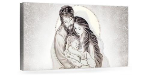 """A022 Quadro capezzale moderno su tela per la camera da letto con decorazioni - Sacro """"Sacra Famiglia"""""""