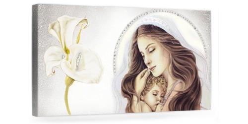 """A023 Quadro capezzale moderno su tela per la camera da letto con decorazioni - Sacro """"Madonna con bambino"""""""