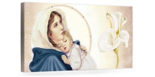 """A024 Quadro capezzale moderno su tela per la camera da letto con decorazioni - Sacro """"Madonna con bambino"""""""