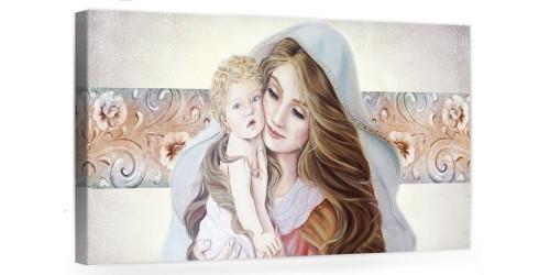 """A025 Quadro capezzale moderno su tela per la camera da letto con decorazioni - Sacro """"Madonna con bambino"""""""