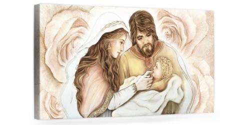 """A026 Quadro capezzale moderno su tela per la camera da letto con decorazioni- Sacro """"Sacra Famiglia"""""""