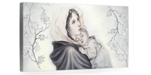 """A027 Quadro capezzale moderno su tela per la camera da letto con decorazioni - Sacro """"Madonna con bambino"""""""