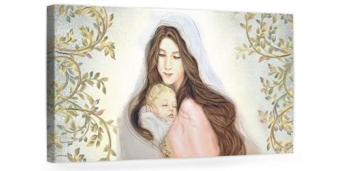 """A028 Quadro capezzale moderno su tela per la camera da letto con decorazioni - Sacro """"Madonna con bambino"""""""