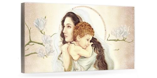 """A029 Quadro capezzale moderno su tela per la camera da letto con decorazioni - Sacro """"Madonna con bambino"""""""