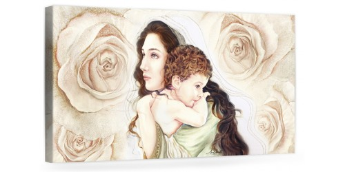 """A034 Quadro capezzale moderno su tela per la camera da letto con decorazioni - Sacro """"Madonna con bambino"""""""