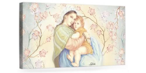 """A035 Quadro capezzale moderno su tela per la camera da letto con decorazioni - Sacro """"Madonna con bambino"""""""