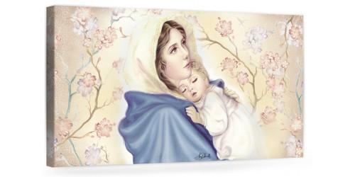 """A036 Quadro capezzale moderno su tela per la camera da letto con decorazioni - Sacro """"Madonna con bambino"""""""