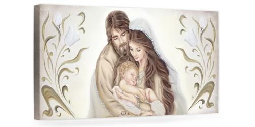 """A037 Quadro capezzale moderno su tela per la camera da letto con decorazioni - Sacro """"Sacra Famiglia"""""""
