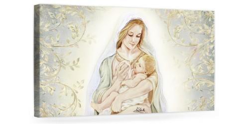 """A038 Quadro capezzale moderno su tela per la camera da letto con decorazioni - Sacro """"Madonna con bambino"""""""