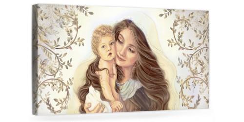 """A039 Quadro capezzale moderno su tela per la camera da letto con decorazioni - Sacro """"Madonna con bambino"""""""