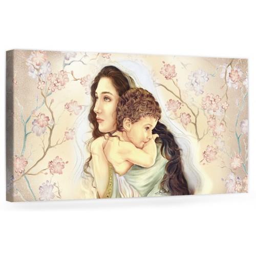 """A040 Quadro capezzale moderno su tela per la camera da letto con decorazioni - Sacro """"Madonna con bambino"""""""