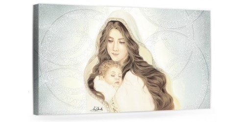 """A041 Quadro capezzale moderno su tela per la camera da letto con decorazioni - Sacro """"Madonna con bambino"""""""