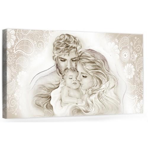 """A045 Quadro capezzale moderno su tela per la camera da letto con decorazioni - Sacro """"Sacra Famiglia"""""""