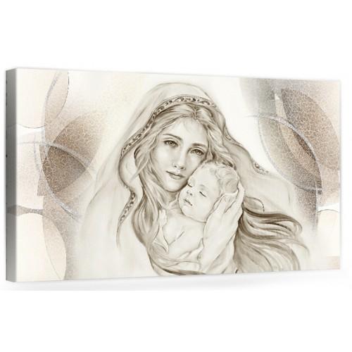 """A047 Quadro capezzale moderno su tela per la camera da letto con decorazioni - Sacro """"Madonna con bambino"""""""