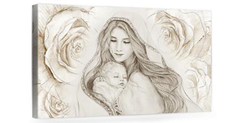 """A048 Quadro capezzale moderno su tela per la camera da letto con decorazioni - Sacro """"Madonna con bambino"""""""
