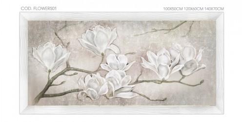 """FLOWERS01 Quadro moderno su tela con fiori """"Floreale con Mannolie"""""""