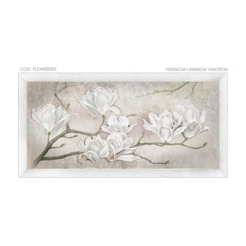 FLOWERS01 Quadro moderno su tela con fiori \