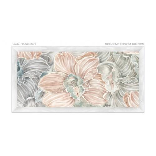 """FLOWERS92 Quadro moderno su tela con fiori """"Floreale con Orchidee"""""""
