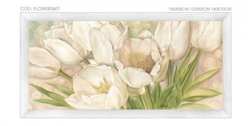 """FLOWERS601 Quadro moderno su tela con fiori """"Floreale con Tulipani"""""""