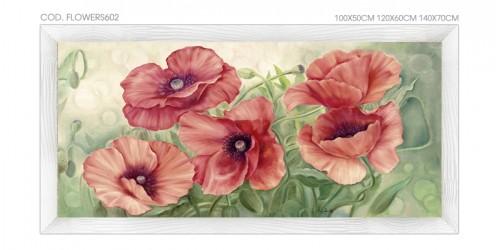 """FLOWERS602 Quadro moderno su tela con fiori """"Floreale con Papaveri Rossi"""""""