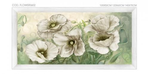 """FLOWERS602-W Quadro moderno su tela con fiori """"Floreale con Papaveri Bianchi"""""""