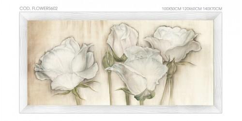 """FLOWERS603 Quadro moderno su tela con fiori """"Floreale con Rose Bianche"""""""