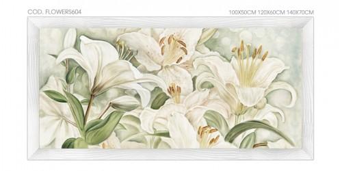 """FLOWERS604 Quadro moderno su tela con fiori """"Floreale con Gigli"""""""