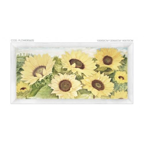 """FLOWERS605 Quadro moderno su tela con fiori """"Floreale con Girasoli"""""""