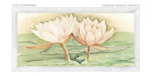"""FLOWERS606 Quadro moderno su tela con fiori """"Floreale con Ninfee"""""""
