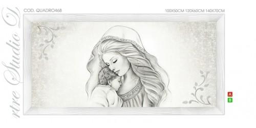 QUADRO468 Quadro capezzale moderno su tela immagine maternità sacro