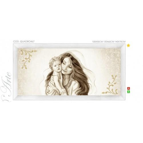 QUADRO467  Quadro capezzale moderno su tela immagine maternità sacro madonna con bambino