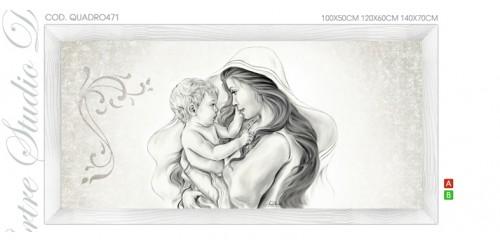 QUADRO471   Quadro capezzale moderno su tela immagine maternità sacro