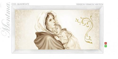 QUADRO472 Quadro capezzale moderno su tela immagine maternità sacro