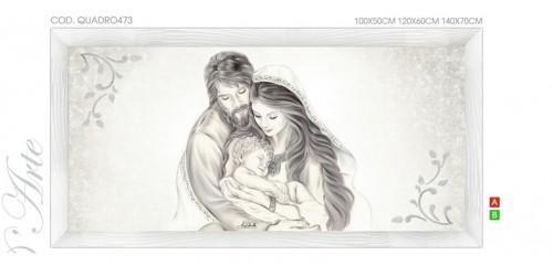 "QUADRO473 Quadro capezzale moderno su tela sacro ""Sacra Famiglia"" (Madonna con Bambino e San Giuseppe)"