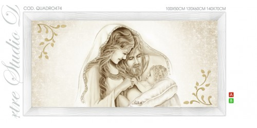 "QUADRO474 Quadro capezzale moderno su tela sacro ""Sacra Famiglia"" (Madonna con Bambino e San Giuseppe)"