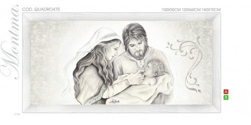 "QUADRO475 Quadro capezzale moderno su tela sacro ""Sacra Famiglia"" (Madonna con Bambino e San Giuseppe)"