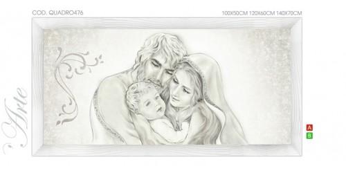 "QUADRO476 Quadro capezzale moderno su tela sacro ""Sacra Famiglia"" (Madonna con Bambino e San Giuseppe)"