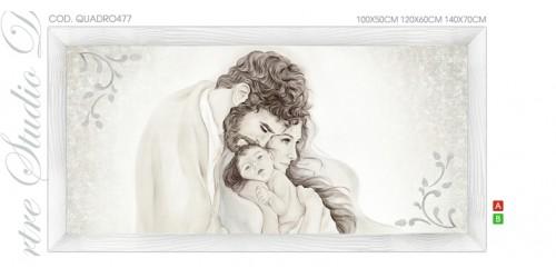 "QUADRO477 Quadro capezzale moderno su tela sacro ""Sacra Famiglia"" (Madonna con Bambino e San Giuseppe)"