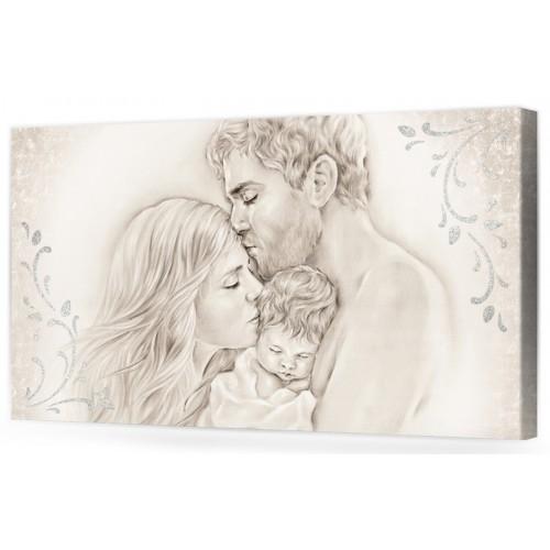 """A004 Originale quadro moderno su tela per la camera da letto con decorazioni 3D - Immagine """"Il calore/ unione della famiglia"""""""
